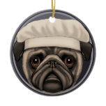 Pug Chef Ceramic Ornament