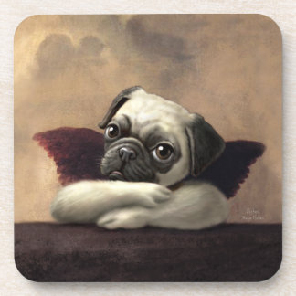 Pug Cherubs Inspired by Raphael Beverage Coaster