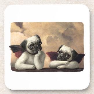 Pug Cherubs Inspired by Raphael Drink Coaster
