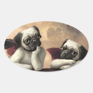Pug Cherubs Inspired by Raphael Oval Sticker