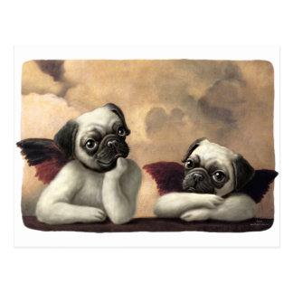 Pug Cherubs Inspired by Raphael Postcard