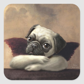 Pug Cherubs Inspired by Raphael Square Stickers
