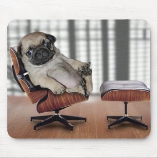 Pug chilling in a recliner chair. mousepad