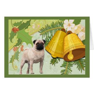 Pug Christmas Card Bells