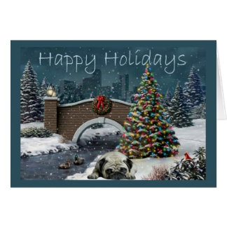 Pug Christmas Card Evening