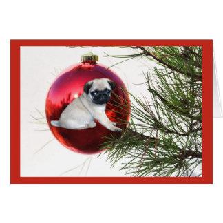 Pug Christmas Card Hanging Ball