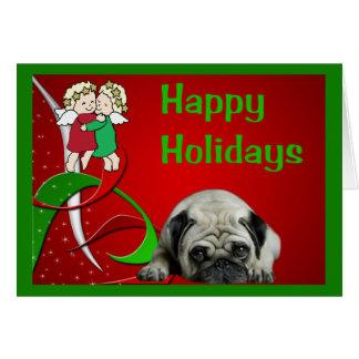 Pug Christmas Card Little Angels