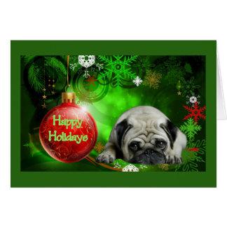 Pug Christmas Card Red Ball
