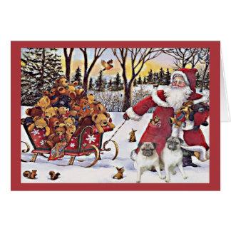 Pug Christmas Card Santa Bears In Sleigh