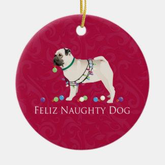Pug Christmas Design Ceramic Ornament