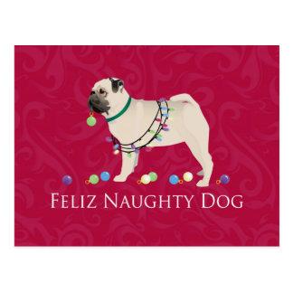 Pug Christmas Design Postcard