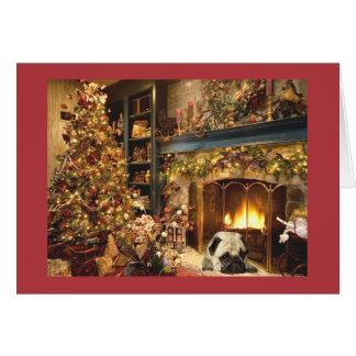 Pug Christmas Fireplace Greeting Card