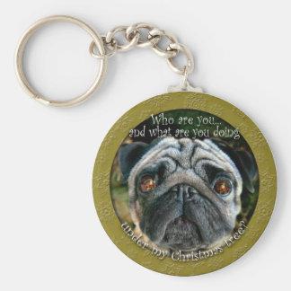 Pug Christmas Keychain