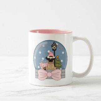 Pug Christmas Snowglobe PInk Two-Tone Coffee Mug