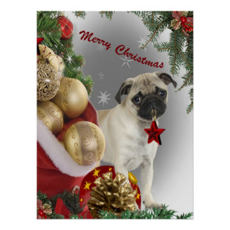 Pug Christmas with Orientaments Poster