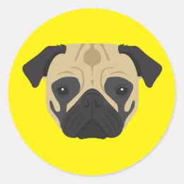 Pug Classic Round Sticker