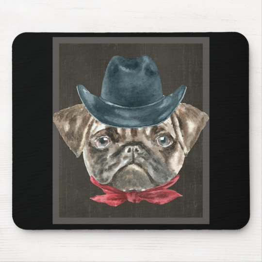 Pug Cowboy Hat Red Collar Dogs In Clothes Mouse Pad  05341ce2cc5