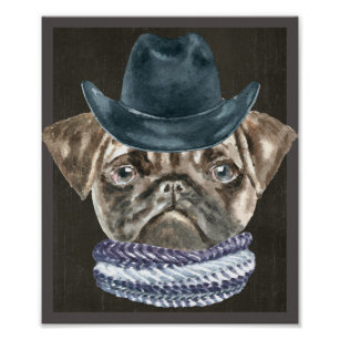131363a070e Pug Cowboy Hat Scarf Dogs In Clothes Poster