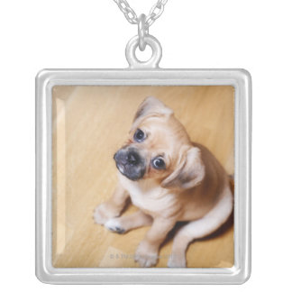 Pug Cross Cavalier King Charles Spaniel Square Pendant Necklace