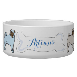 PUG Customizable Name Dogfood Pet Bowl