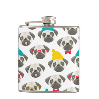 Pug – cute dog in Christmas Flask