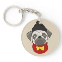 Pug – cute dog in Christmas Keychain