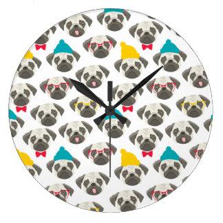Pug – cute dog in Christmas Large Clock