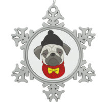 Pug – cute dog in Christmas Snowflake Pewter Christmas Ornament