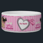 "Pug Cuties Pink Stripe - Customize Bowl<br><div class=""desc"">Adorable little Pugs in dark and light colors with girly details like pink bows,  collars,  and bowl of dog bones. Background is pretty pink stripe with heart and ribbon banner ready for you to customize with your pets name. Matching Dog Treat Jar available in my store.</div>"