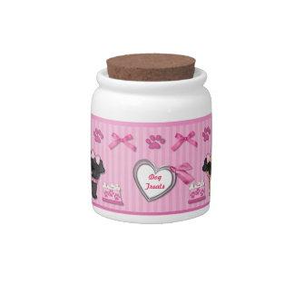 Pug Cuties Pink Stripe Dog Treat Jar - Customize Candy Jars