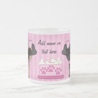 Pug Cuties Pink Stripes and Paws 10 Oz Frosted Glass Coffee Mug