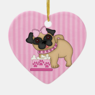 Pug Cuties Pink Stripes and Paws Ceramic Ornament