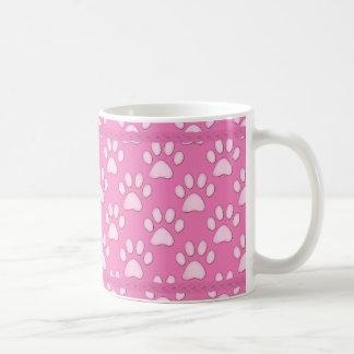 Pug Cuties Pink Stripes and Paws Classic White Coffee Mug