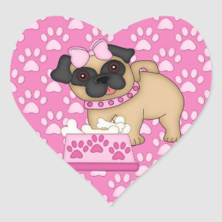 Pug Cuties Pink Stripes and Paws Heart Sticker