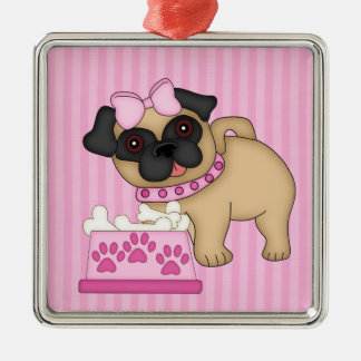Pug Cuties Pink Stripes and Paws Metal Ornament