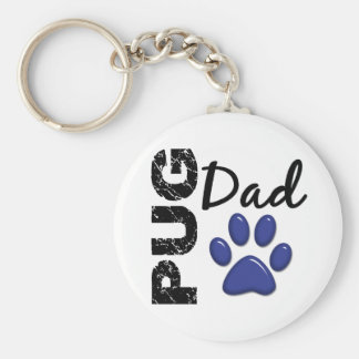 Pug Dad 2 Basic Round Button Keychain