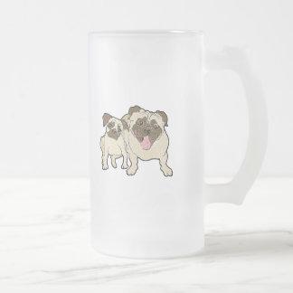 Pug Dad Frosted Glass Beer Mug