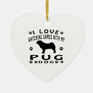 Pug designs Double-Sided heart ceramic christmas ornament