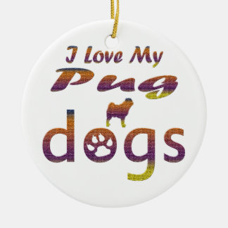 Pug Designs Double-Sided Ceramic Round Christmas Ornament