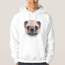 Pug Dog, Abstract, Men's Basic Hooded Sweatshirt