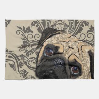 Pug Dog Abstract Pet Pattern Print Kitchen Towel
