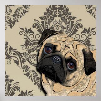 Pug Dog Abstract Pet Pattern Print Poster
