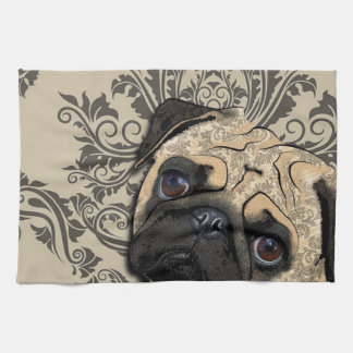 Pug Dog Abstract Pet Pattern Print Towel