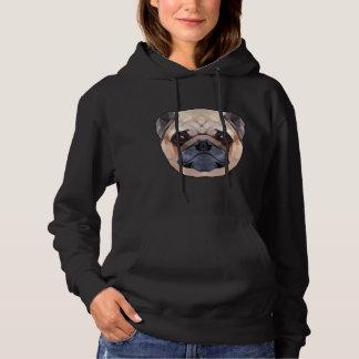 Pug Dog, Abstract Women's Basic Hooded Sweatshirt