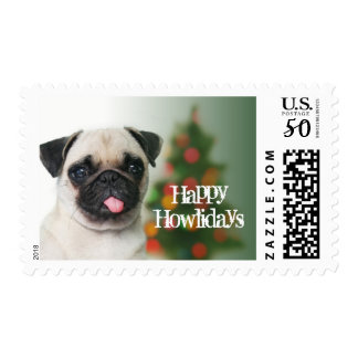 Pug dog against Christmas tree with bokeh Postage