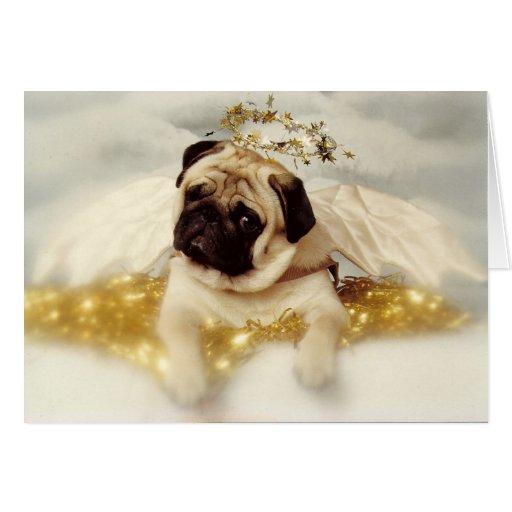 pug dog angel christmas card