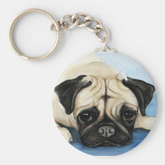 """Pug"" Dog Art Keychain"