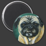 Pug Dog Art - My Happy Face 2 Inch Round Magnet