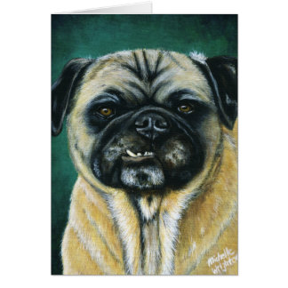 Pug Dog Art - My Happy Face Card