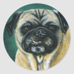 Pug Dog Art - My Happy Face Classic Round Sticker